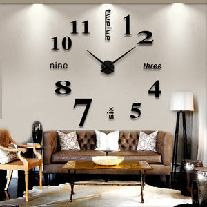 3D DIY Large Decorative Wall Clocks Unique Gift Watch