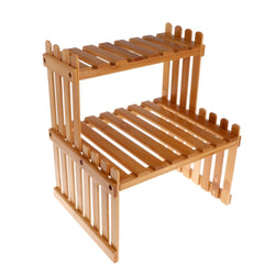 Plant Shelf Flower Display Stand Bamboo Wood Storage Rack Garden Organizer