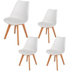 4Pcs Modern Simple Solid Style Dining Wood Foot Padded Plastic Chair