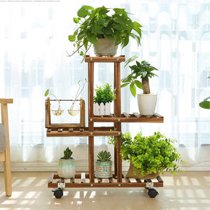 Nursery Pot Stand Shelf Indoor/outdoor Garden Decoration Gifts Tools With Wheels