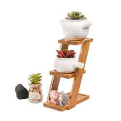 Plant/Flower Wooden Shelf Display Bamboo Stand