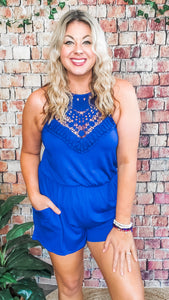 Lainey Lace Romper- Royal Blue