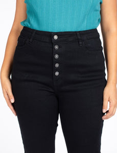 Black Button Fly High Waisted Kan Can (Curvy)