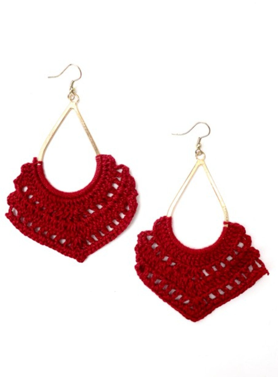Crochet Earrings Red