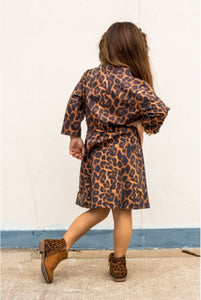 Amber Leopard Cactus Embroidered Dress - Kids