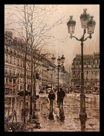 """A Walk In the Rain In Paris"" by Keith Oelschlager"