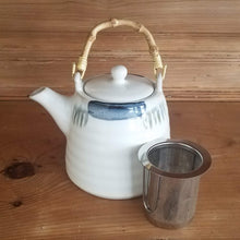 Load image into Gallery viewer, White Teapot (blue accents and bamboo handle)