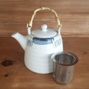 White Teapot (blue accents and bamboo handle)