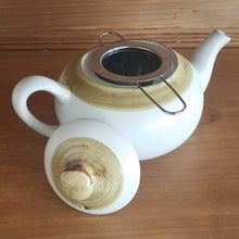 Load image into Gallery viewer, Reactive Glaze Teapot (white/bronze)
