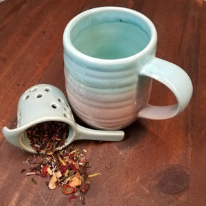 Ceramic Tea Mug with Infuser (aqua)