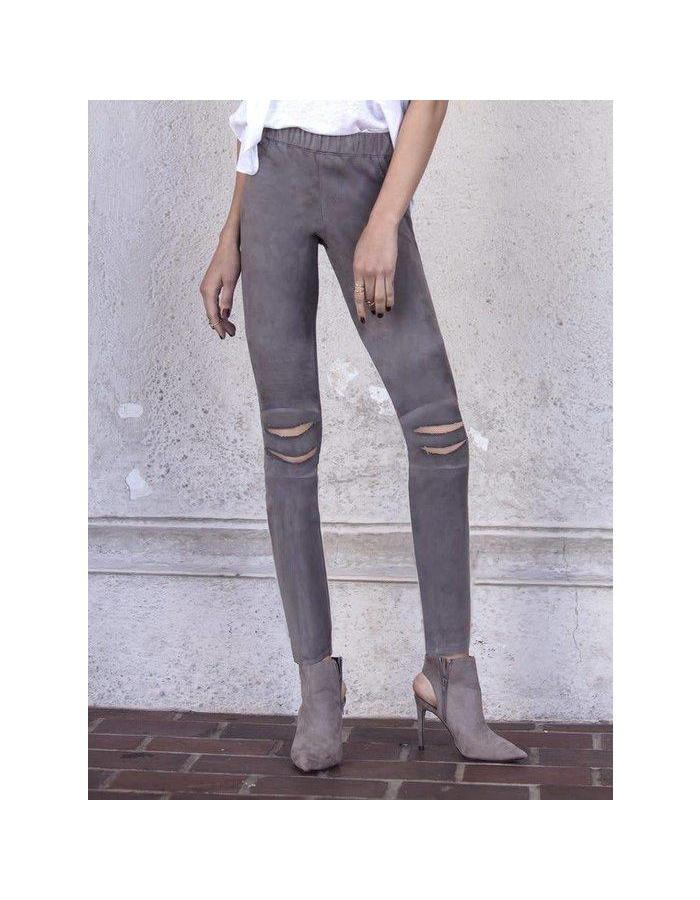Distressed  Suede Leggings