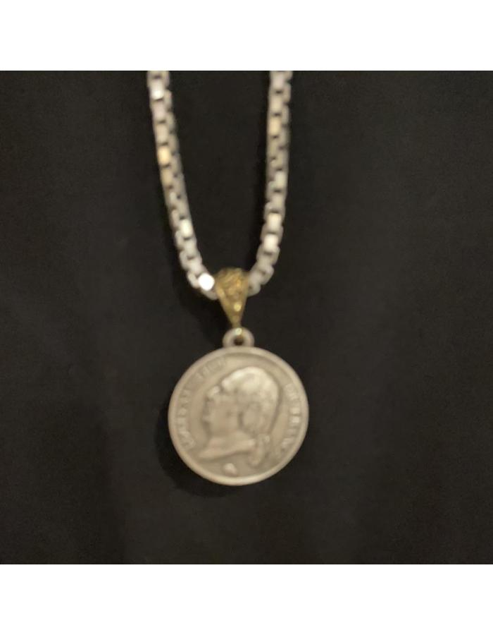 "French Crown Coin on 36"" Large Box Chain"