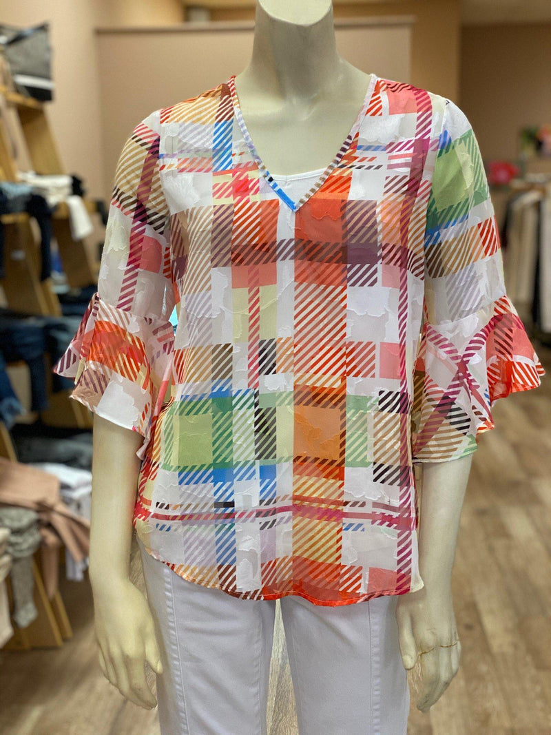 Hilary Radley Multi Color Plaid Top
