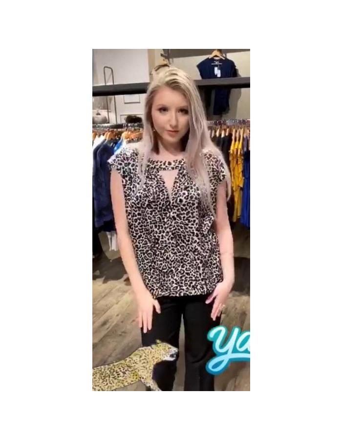 Leopard Key Hole Top
