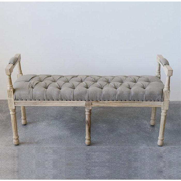 Mango Wood Bench with Cotton Tufted Seat