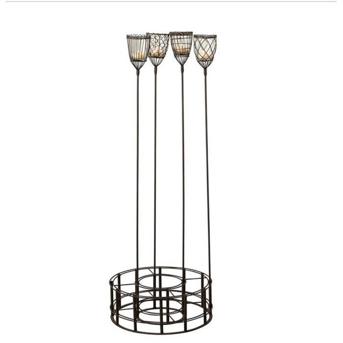 Metal and Glass Votive Garden Stake