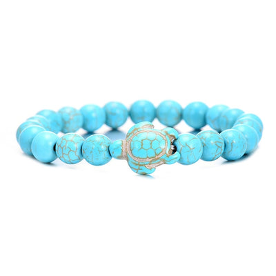 8MM Blue Natural Stone Turtle Beads Bracelet - The Ocean Devotion