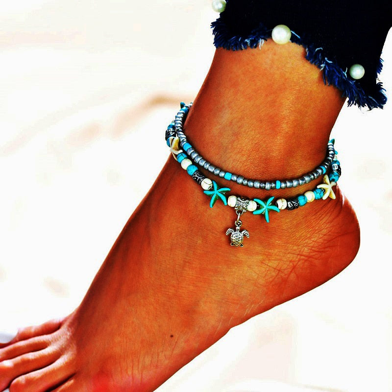 Boho Beads Starfish Anklet - The Ocean Devotion