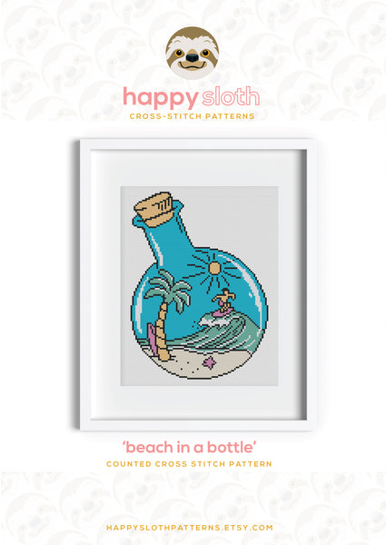 Beach in a Bottle Cross Stitch Pattern