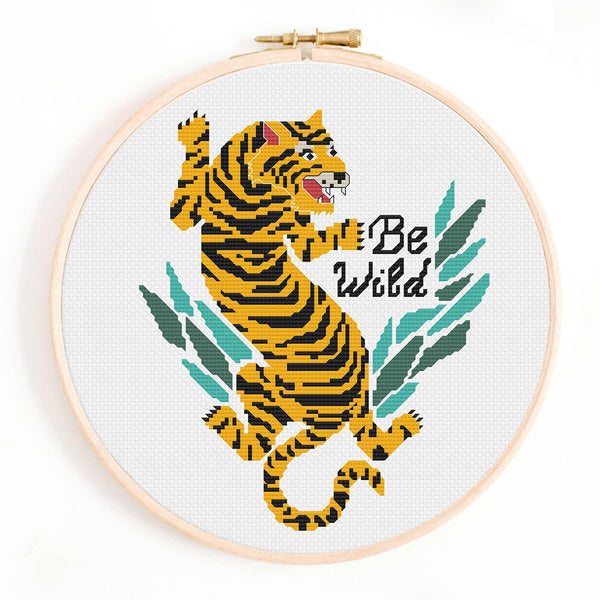 'Be Wild' Tiger Cross Stitch Pattern