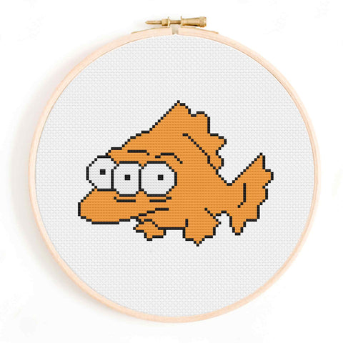 'Blinky' The Simpsons Three-Eyed Fish Cross Stitch Pattern