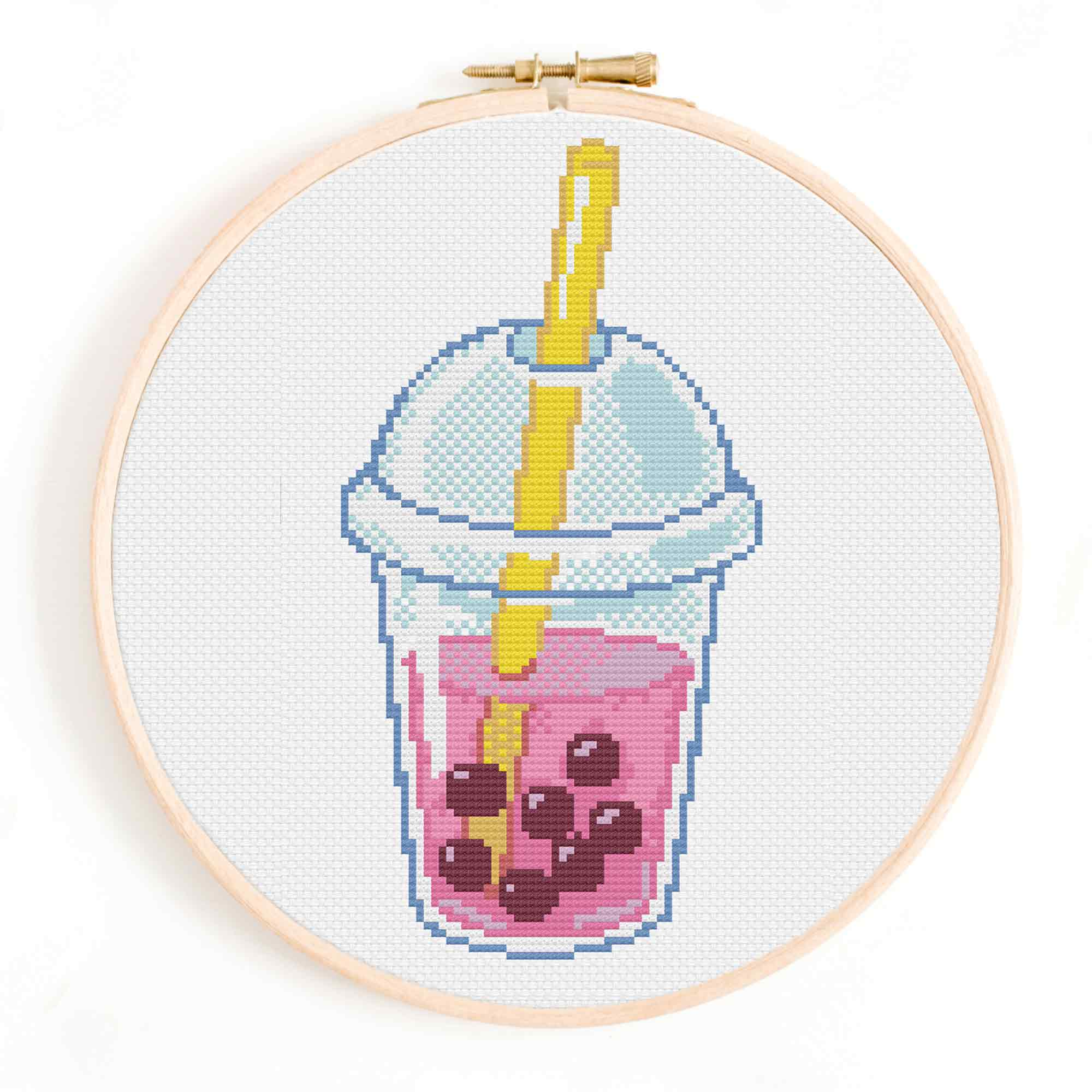 Boba Tea Cross Stitch Pattern