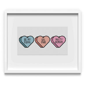 Feminist Candy Hearts Cross Stitch Pattern