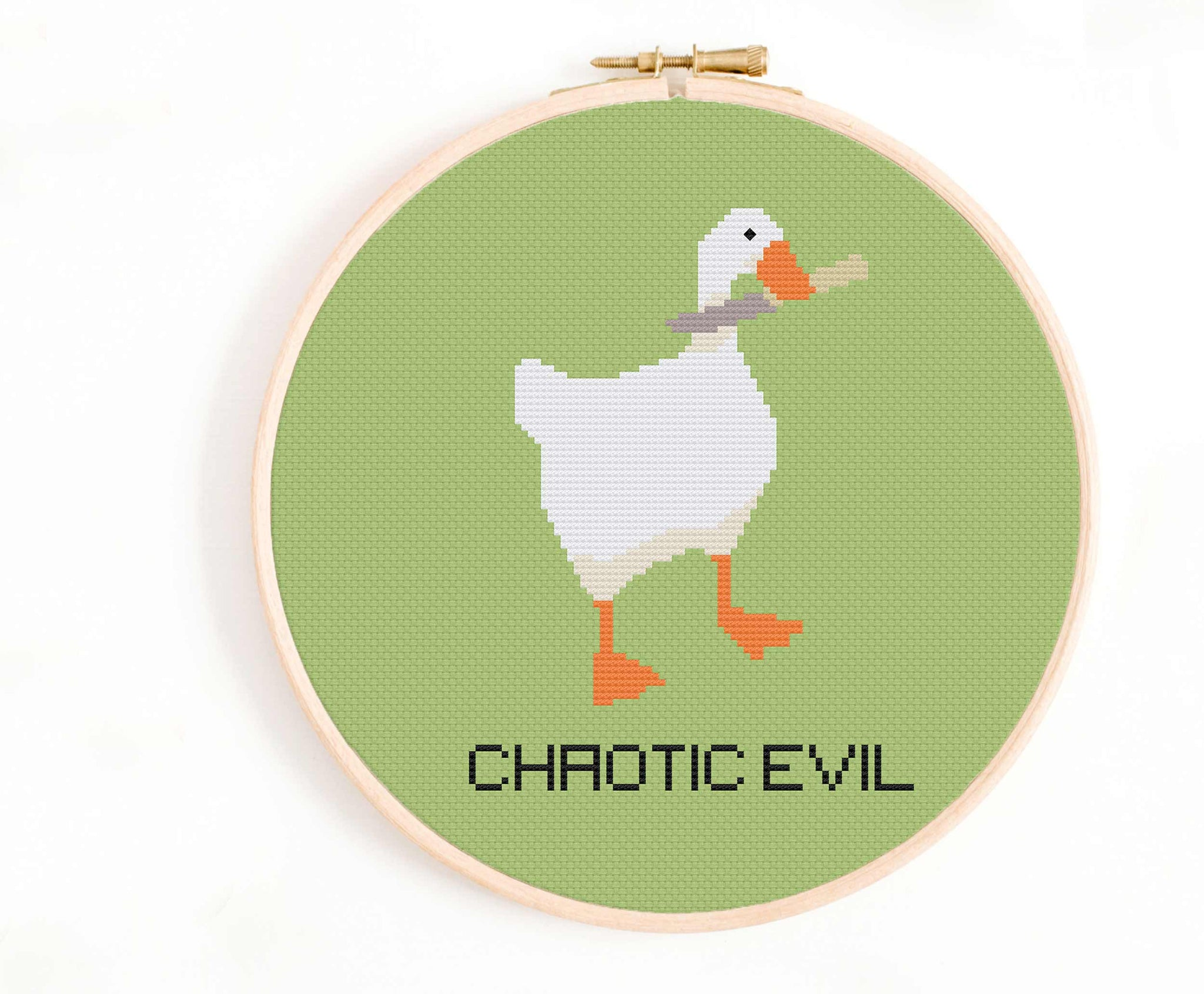 'Chaotic Evil' Untitled Goose Game Cross Stitch Pattern