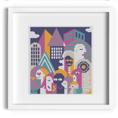 City Life Modern Portrait Cross Stitch Pattern