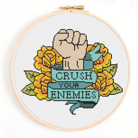 'Crush Your Enemies' Tattoo Cross Stitch Pattern