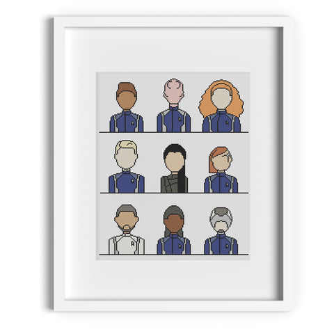 Star Trek Discovery Crew Cross Stitch Pattern