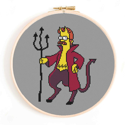 'Evil Flanders' The Simpsons Cross Stitch Pattern