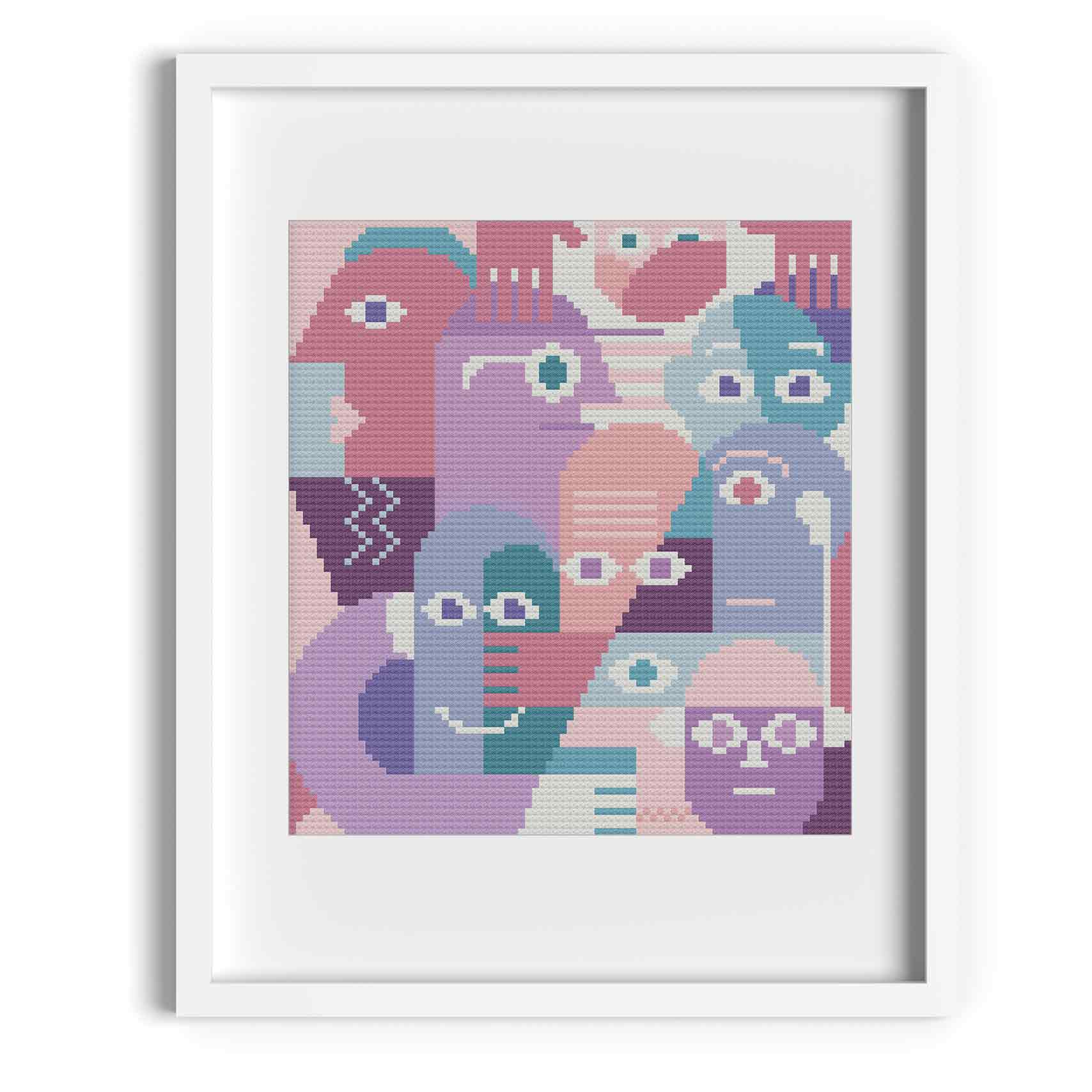 'Family' Abstract Portrait Cross Stitch Pattern
