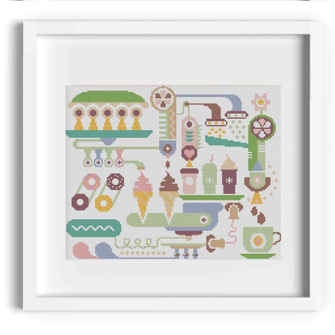 Ice Cream Machine Cross Stitch Pattern
