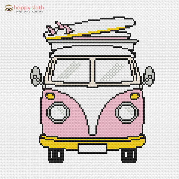Vintage Kombi Van Cross Stitch Pattern