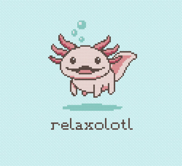 Relaxolotl Axolotl Cross Stitch Pattern