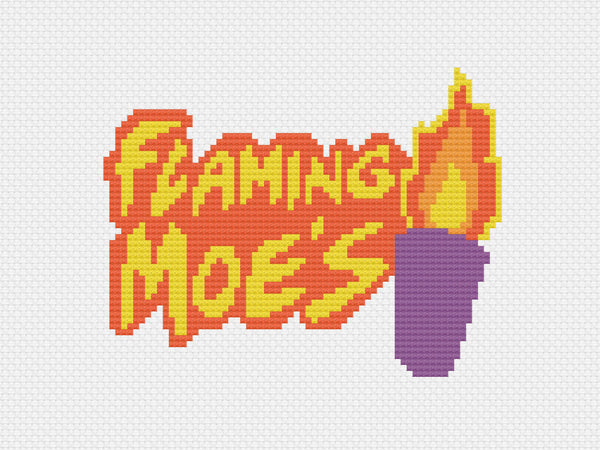 'Flaming Moes' The Simpsons Cross Stitch Pattern