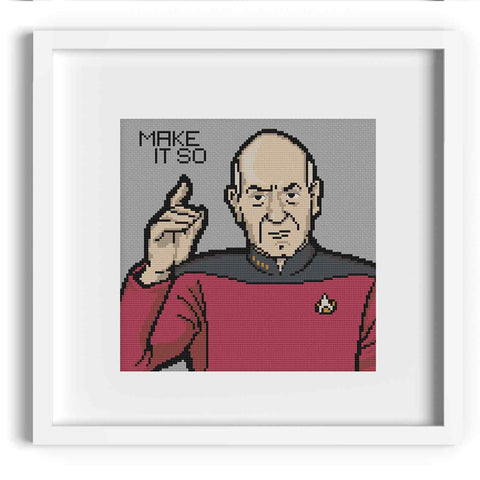 'Make It So' Captain Picard Cross Stitch Pattern