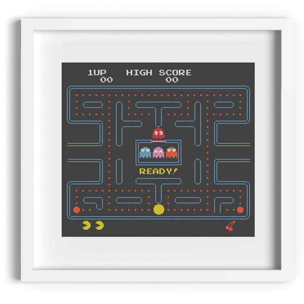 Pacman 8-Bit Cross Stitch Pattern