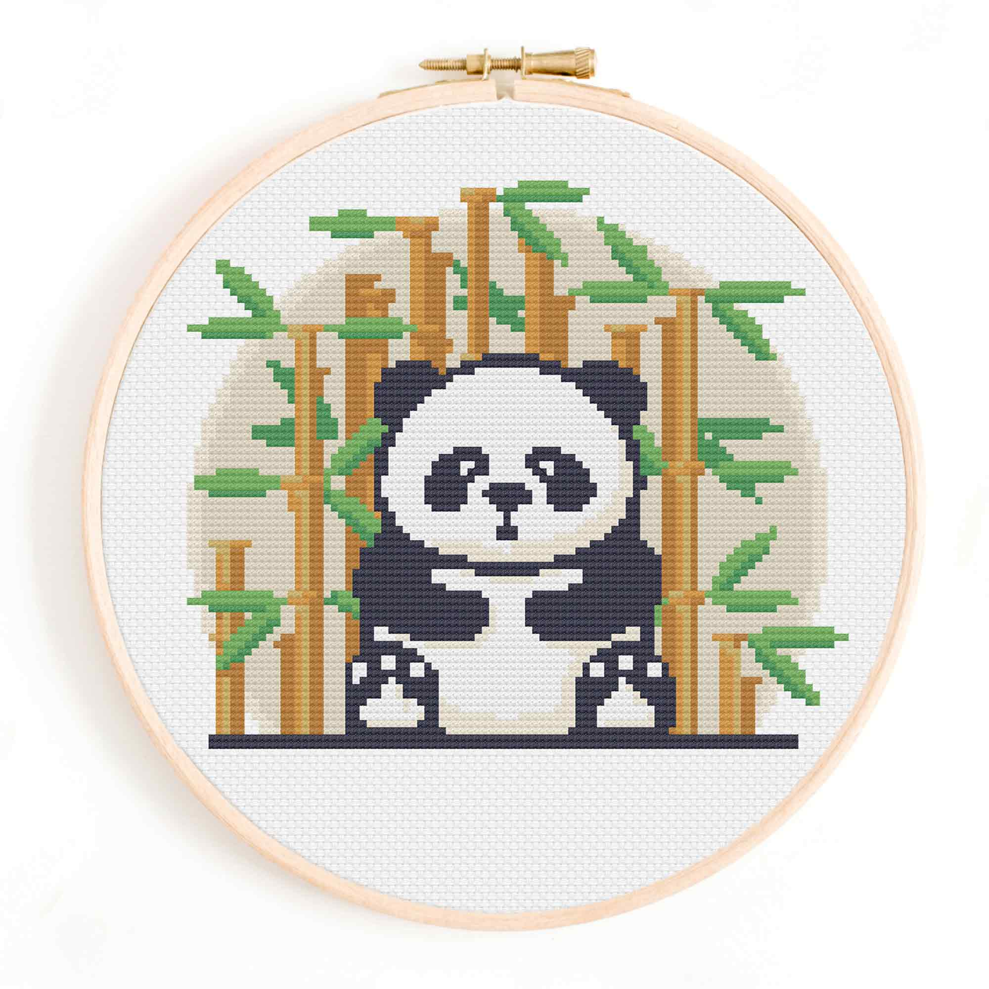 Panda and Bamboo Cross Stitch Pattern