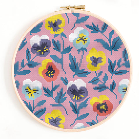Pansies Cross Stitch Pattern