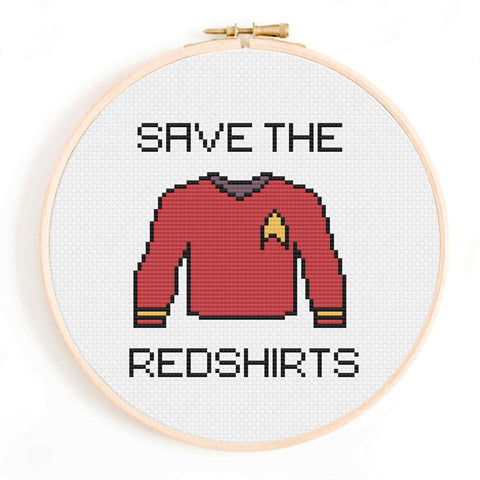 'Save the Red Shirts' Star Trek Cross Stitch Pattern