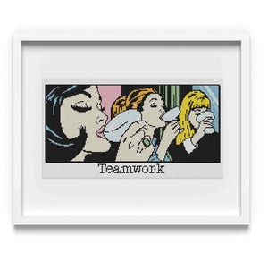 Teamwork! Vintage Comic Cross Stitch Pattern