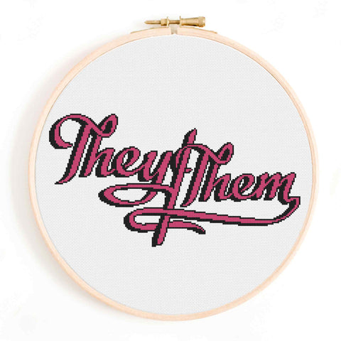 They/Them Non-Binary Cross Stitch Pattern