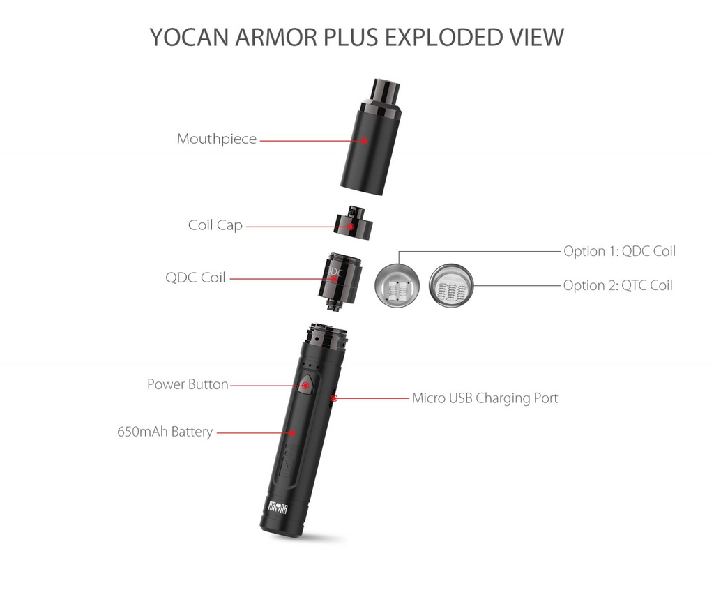 Yocan - Armor Plus Vaporizer (Dab Pen) Exploded View
