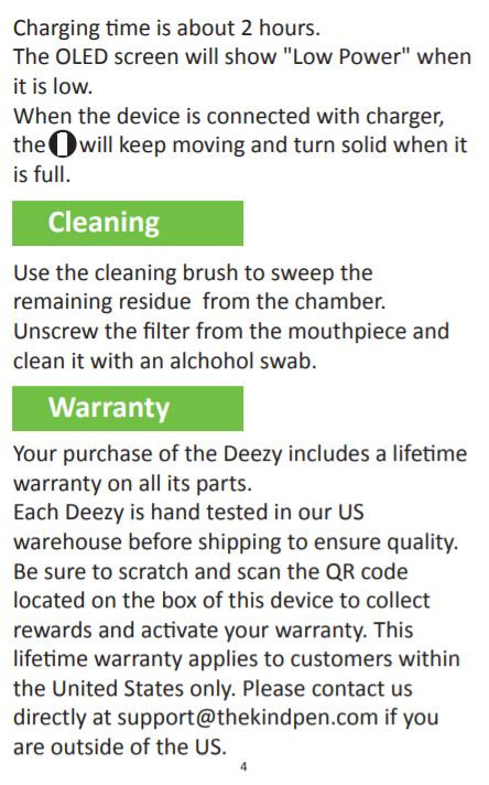 The Kind Pen - Deezy Dry Herb Vaporizer cleaning & warranty info