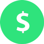 green and white coin with a dollar sign