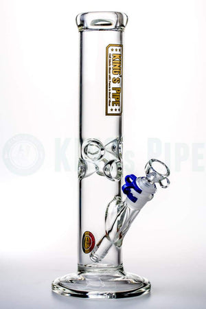 KING's Pipe Glass - 12'' Glass on Glass Straight Tube Bong