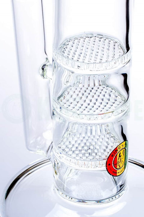 KING's Pipe Glass - 18 Inch Triple Honeycomb Straight Bong