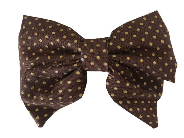 Brown and Gold Polka Dots Sailor Bow